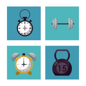 Botones cuadrados multicolores conjunto de elementos para el entrenamiento con pesas