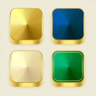 Botones cuadrados premium dorados brillantes 3s