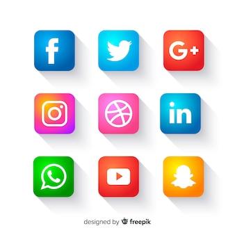 Botones de iconos de redes sociales
