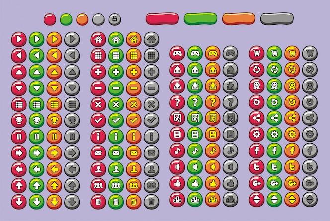 Botones de interfaz de juego establecidos para juego y aplicación