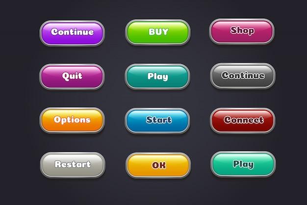 Botones de dibujos animados. elementos coloridos de la interfaz de usuario de videojuegos.