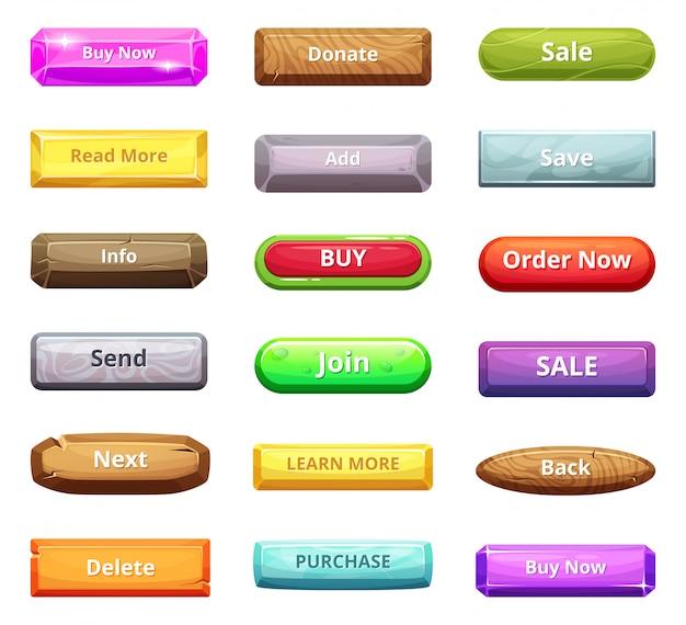 Botones de dibujos animados para el mercado web y otros proyectos de internet.