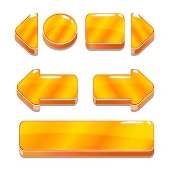 Botones dorados de dibujos animados para el juego