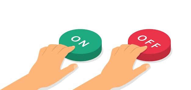 Botones de encendido y apagado en isometría. concepto de pulsadores de manos.