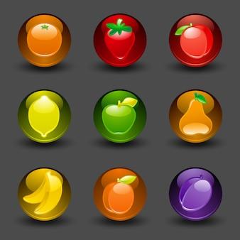 Botones con fondo oscuro de frutas con sombra