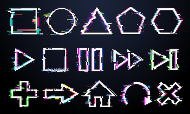 Botones glitch, marcos mínimos glitched, iconos de control de música con ruido digital, juego de botones reproducir, pausar y rebobinar con textura