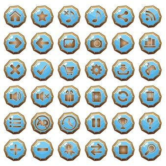 Los botones de gui iconos de madera establecidos para las interfaces de juego azules.