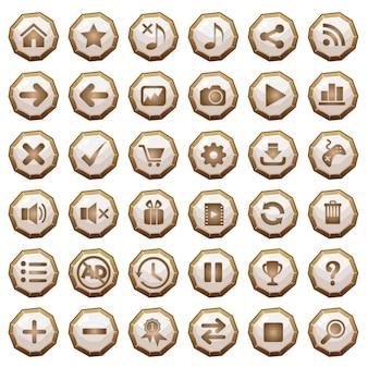 Botones gui iconos de madera para interfaces de juego en blanco.