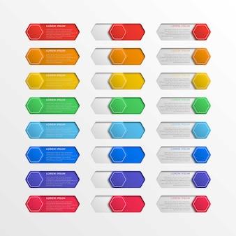 Botones hexagonales realistas de la interfaz del interruptor multicolor con cuadros de texto en blanco