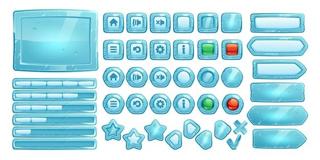 Botones de hielo para juego de interfaz de usuario