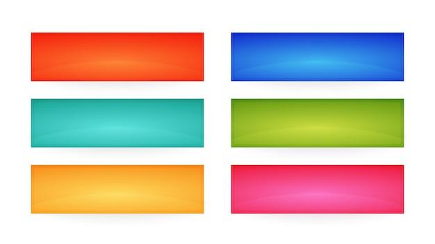 Botones de interfaz de colores. conjunto de seis botones web abstractos modernos. ilustración vectorial