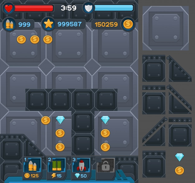 Botones de interfaz configurados para juegos o aplicaciones espaciales