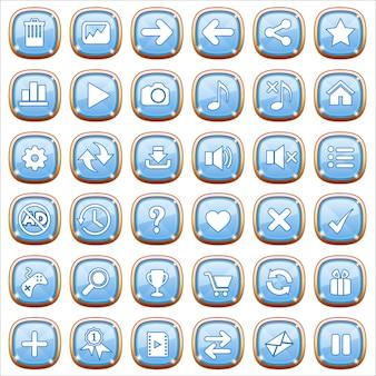 Botones de interfaz gráfica de usuario en luz azul.