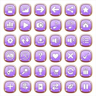 Botones de interfaz gráfica de usuario en luz púrpura.