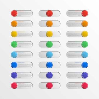 Botones de interfaz de interruptor redondo multicolor con cuadros de texto
