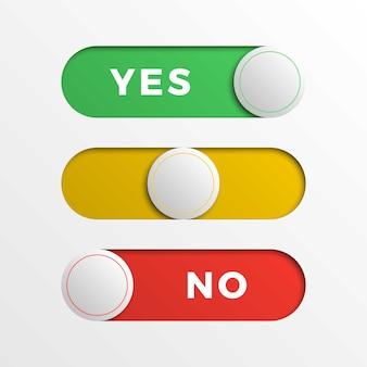 Botones de interfaz de interruptor rojo / amarillo / verde.