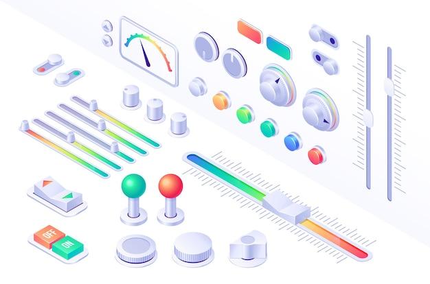 Botones isométricos de la interfaz del panel de control.