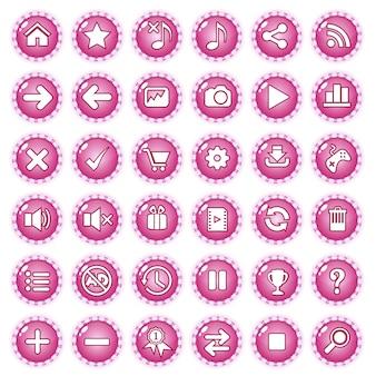 Botones de juego gui línea de borde color caramelo color rosa.
