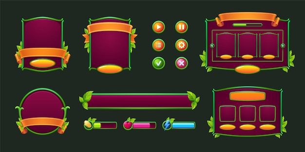 Botones de juego y marcos con bordes verdes y elementos de diseño de hojas y activos con plantas para su uso ...