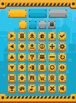 Botones de juego de metal amarillo