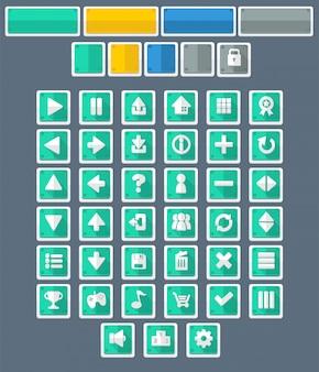 Botones de juego planos