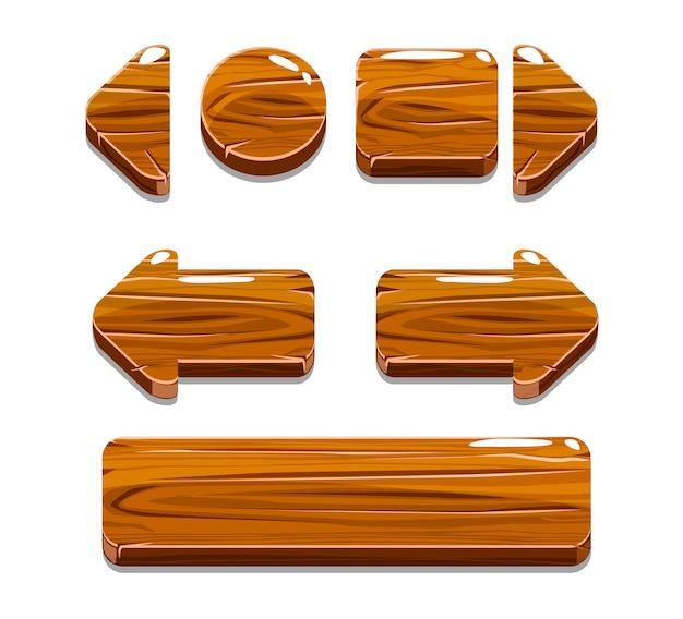 Botones de madera de dibujos animados para juego