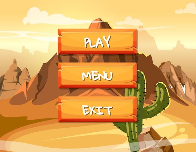 Botones de madera estilo de dibujos animados con texto para el diseño del juego en piezas de pastel