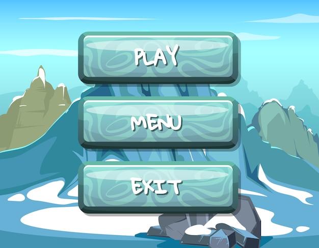 Botones de madera estilo de dibujos animados con texto para el diseño del juego
