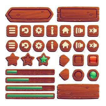 Botones de madera para juego de interfaz de usuario