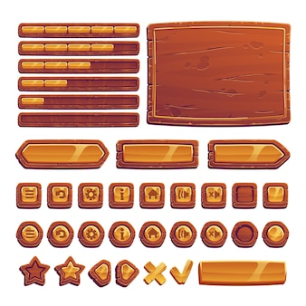 Botones de madera y oro para juego de interfaz de usuario.