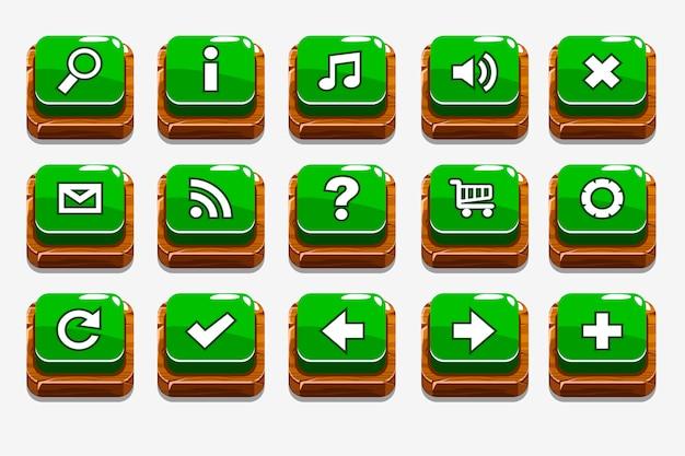 Botones de madera verde con diferentes elementos de menú.
