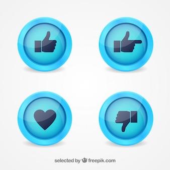 Botones de manos y corazón