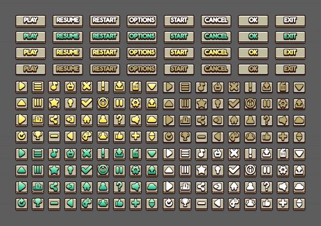 Botones marrones para crear videojuegos.