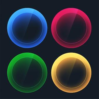 Botones oscuros brillantes en formas circulares