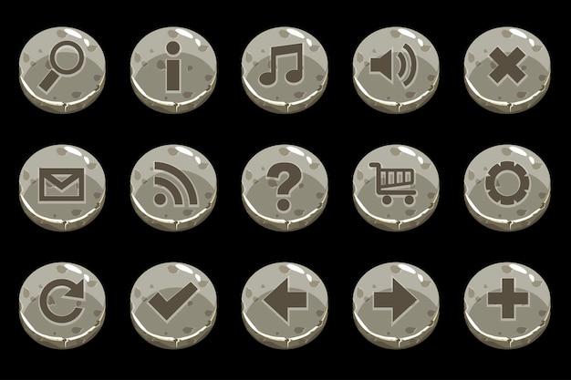 Botones de piedra antigua de círculo de dibujos animados