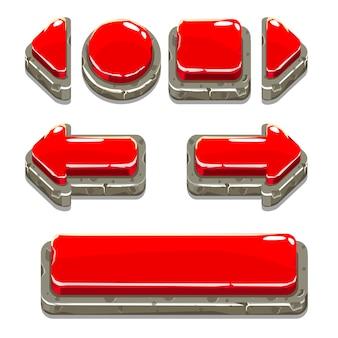 Botones de piedra roja de dibujos animados para el juego