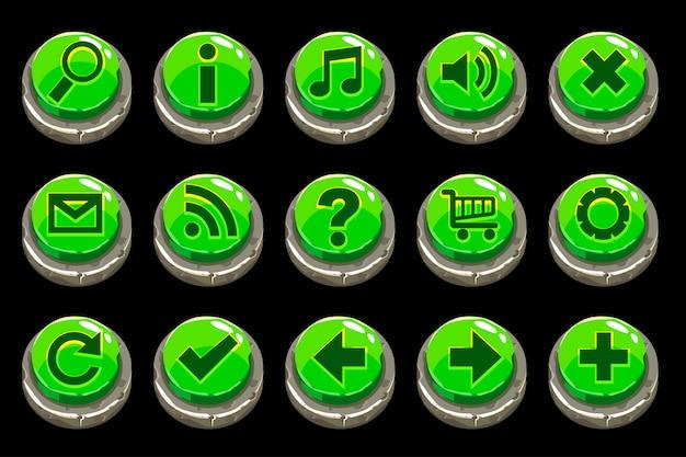 Botones de piedra verde de círculo de dibujos animados
