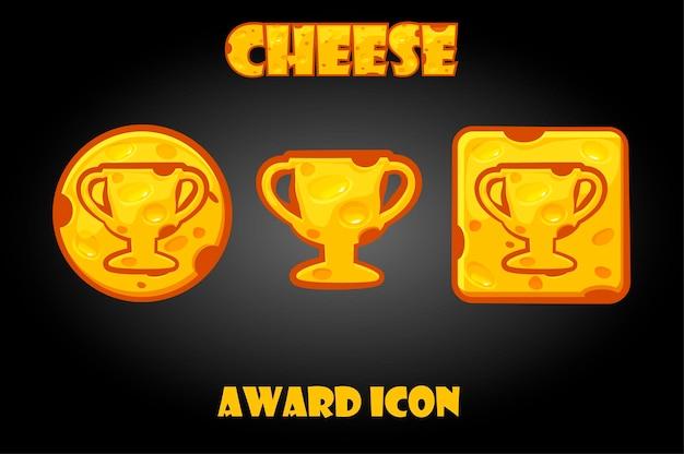 Botones de queso con un icono de recompensa para el juego.