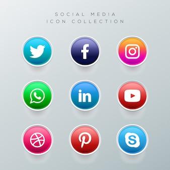 Botones realistas con colección de logotipos de redes sociales