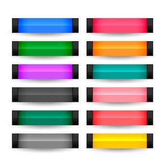 Botones rectangulares establecidos en muchos colores.