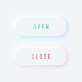 Botones redondeados de apertura y cierre en un estilo moderno y suave