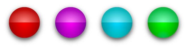 Botones redondos brillantes. botones brillantes de color aislados
