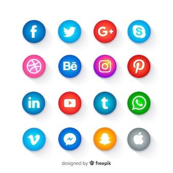 Botones redondos de iconos de redes sociales