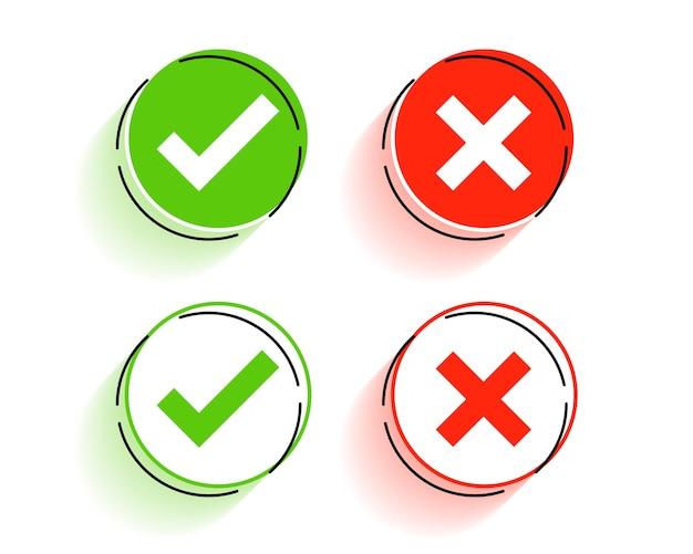 Botones redondos de marca de verificación y símbolos cruzados