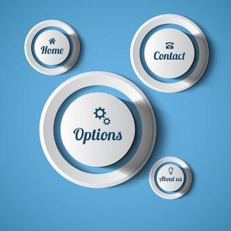 Botones redondos de web