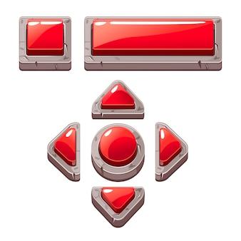 Botones rojos de piedra de dibujos animados para diseño de juegos o web