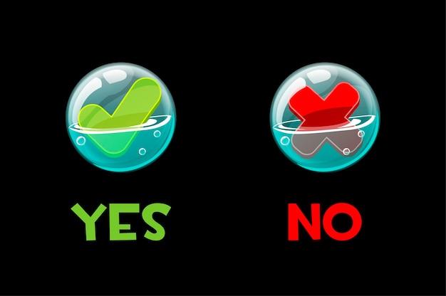 Botones sí y no en pompas de jabón para la interfaz.