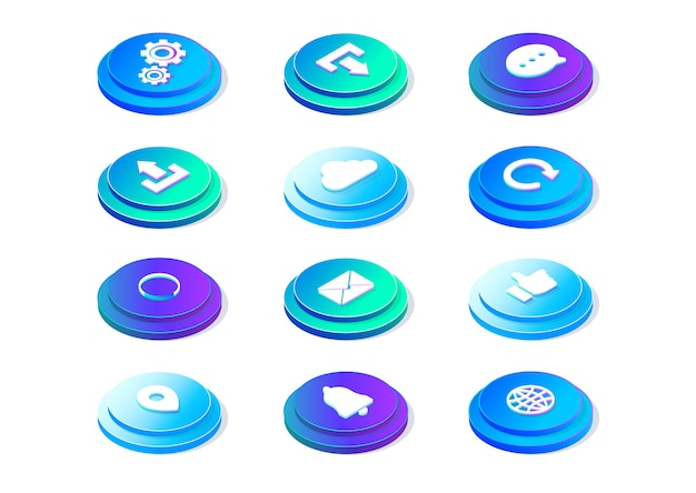Botones para el sitio web, descarga, configuración, alertas, iconos, ilustración vectorial isométrica