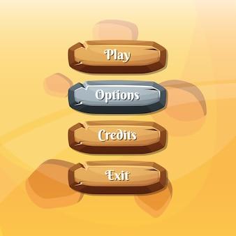 Botones con texto para juegos.