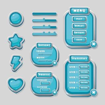 Botones vectoriales azules, una barra de progreso y ventanas de navegación para el diseño de la interfaz del juego.